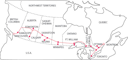 Figure 1 Route Of The Trans Canada Skyway Microwave System