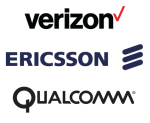 Verizon, Ericsson, Qualcomm logos