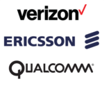 Verizon, Ericsson, Qualcomm logos